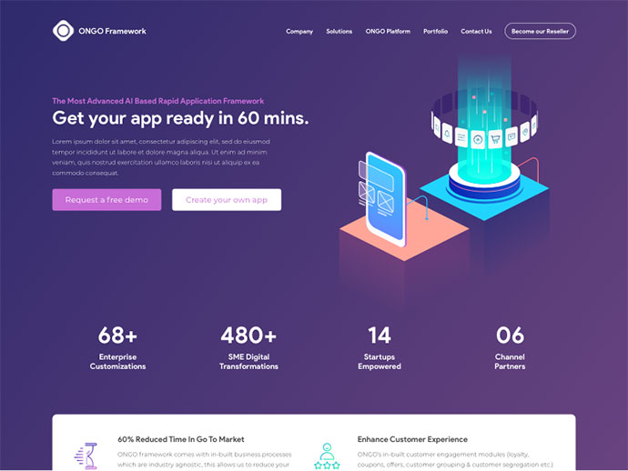 Landing Page - Mobile Application Framework
