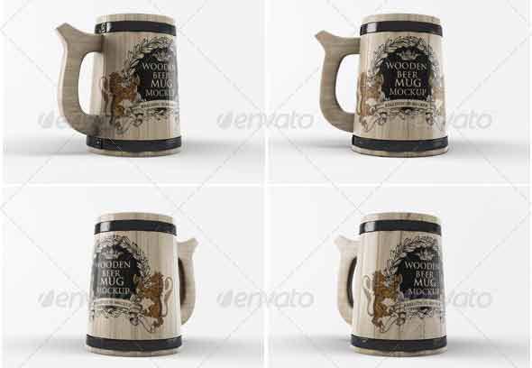 Wooden Beer Mug Mock-Up