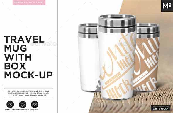 Travel Mug with Box Mock-up
