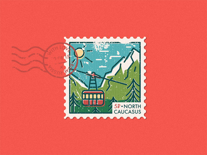 North Caucasus postage stamp sticker