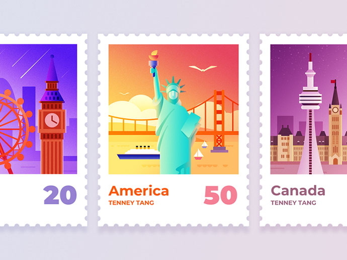 Famous landmark stamp illustration design