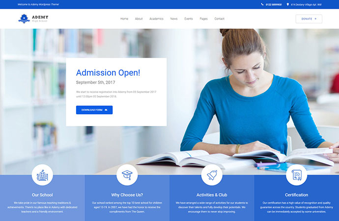 Ademy - WordPress Theme for Schools & Educational Institutes