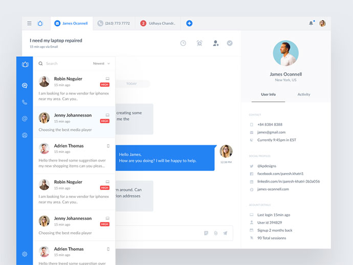 Customer messaging app