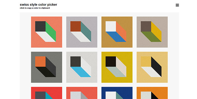 Swiss style color picker