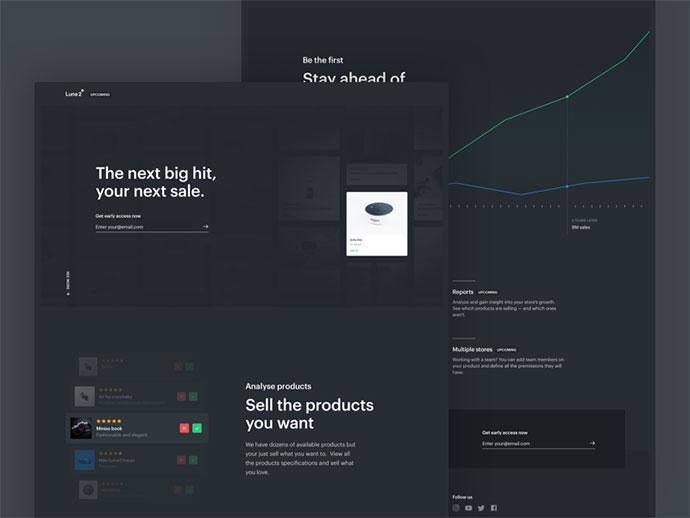Luna 2 - Landing page for Retailers - Dark UI