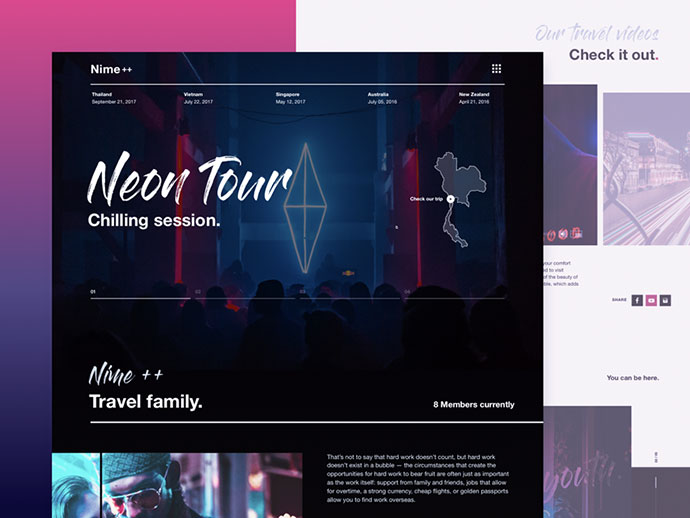 Travel Vlog Homepage Design