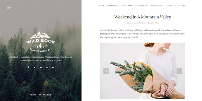 Wild Book - Vintage, Elegant & Summer WordPress Personal Blog Theme