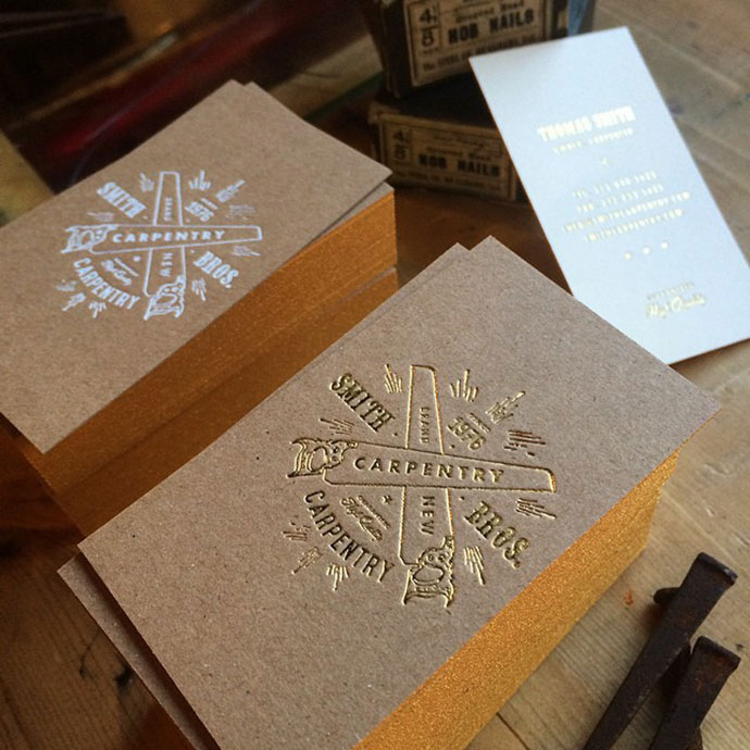 Brown Kraft Foiled Business Cards