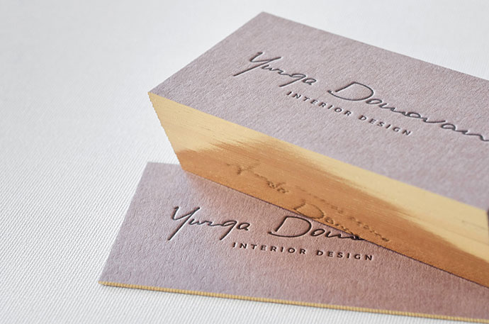 Brown letterpress business cards with gold edges