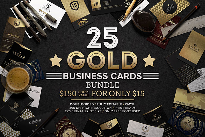 25Gold Business Cards Bundle