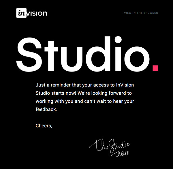 Reminder: Your early access to InVision Studio starts now