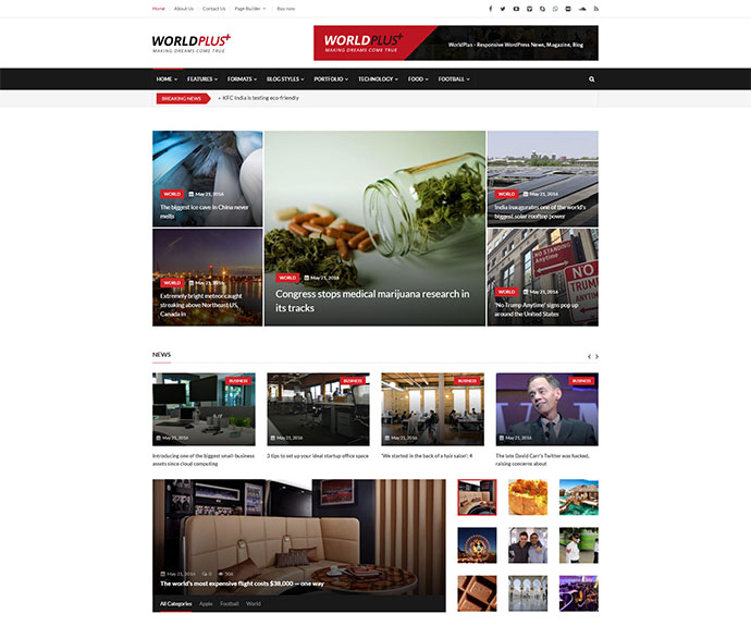 WorldPlus - Responsive News and Magazine WordPress
