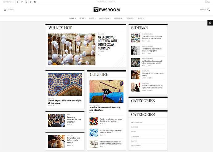 Newsroom – A Contemporary Multipurpose Newspaper / Magazine Theme
