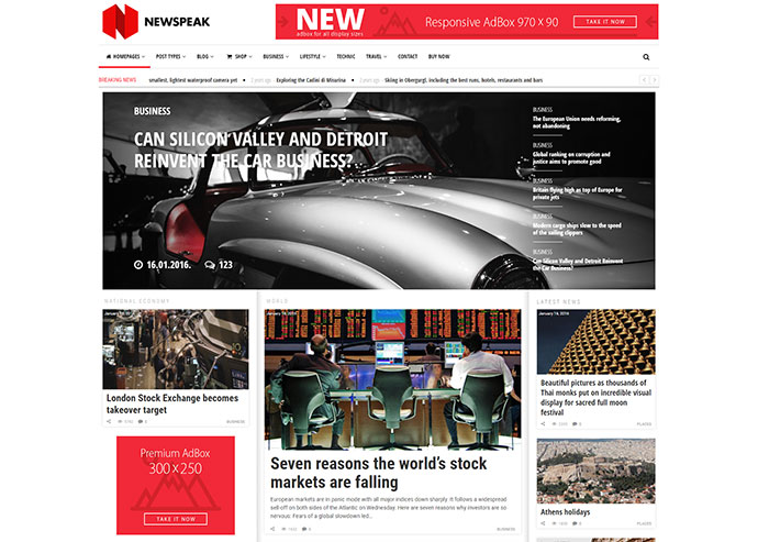 Newspeak - Responsive News / Magazine / Blog WordPress Theme + RTL