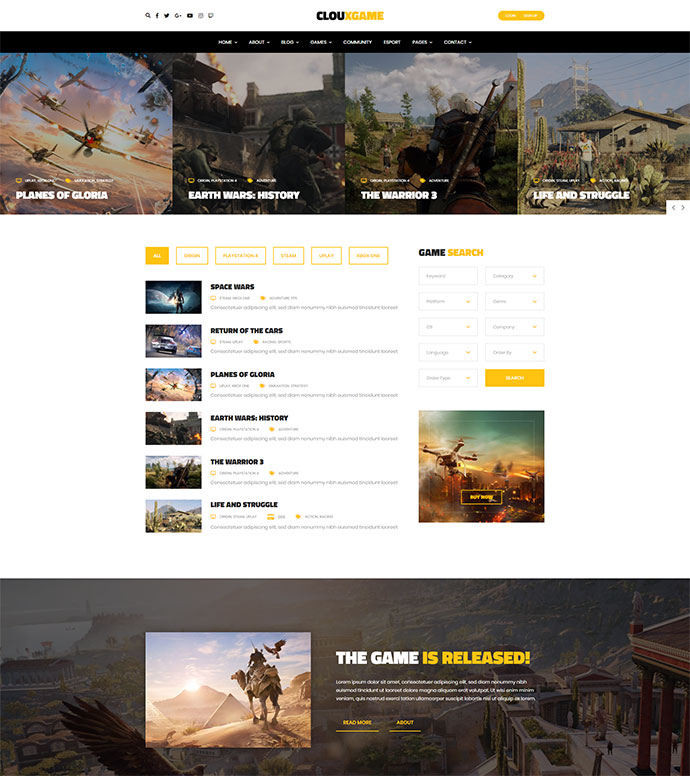 Cloux - Multi-Purpose WordPress Game Theme