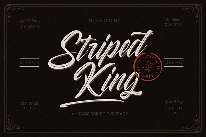 STRIPED KING VINTAGE - FREE SCRIPT FONT