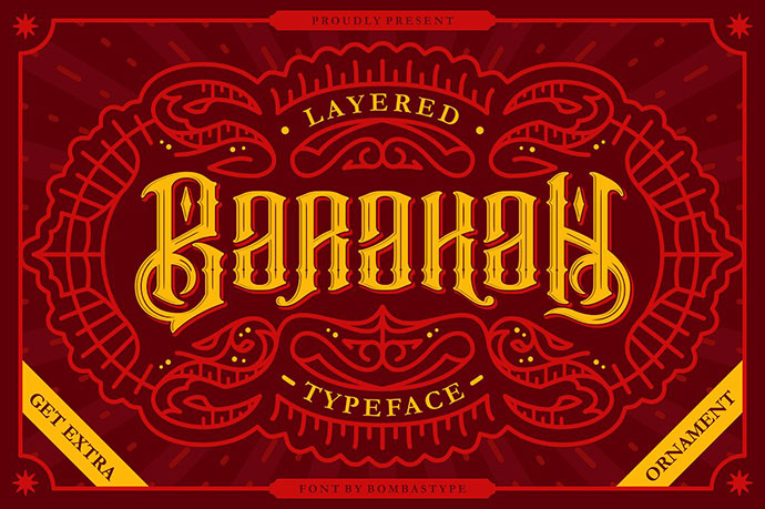 BarakahLayered Typeface + Extras