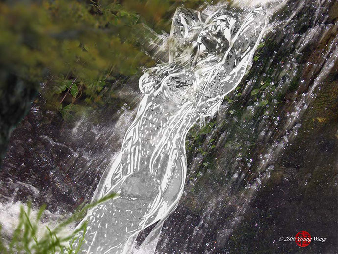 Naiad Amidst Waterfall
