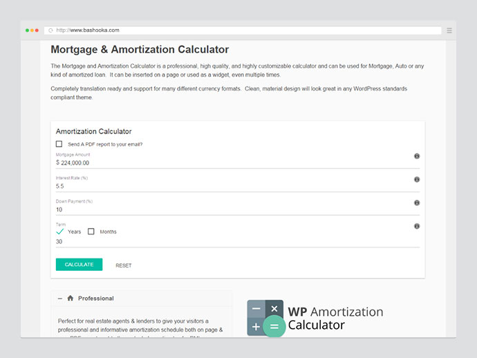WP Amortization Calculator