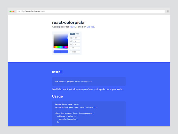 A colorpicker for React