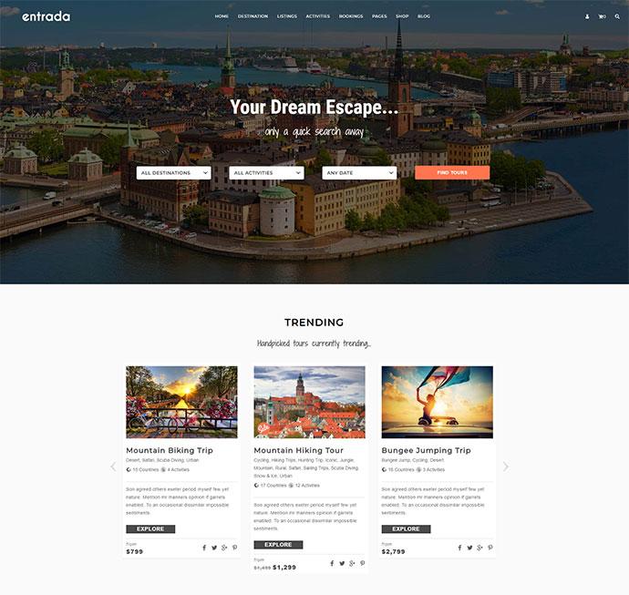 Tour Booking - Tour Adventure WordPress Theme - Entrada