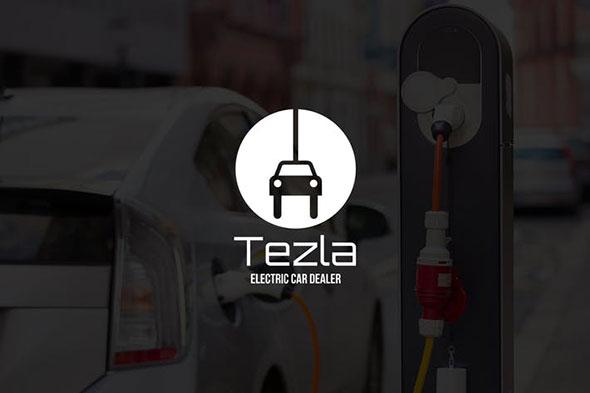 Tezla : Negative Space Green Energy Logo
