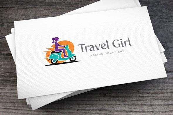 Travel Girl Logo Template