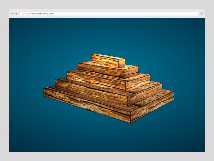 wooden block pyramid (pure CSS)