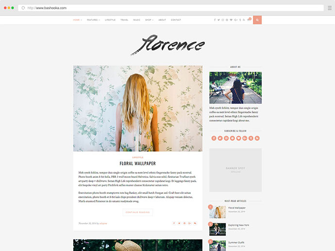 Florence - A Responsive WordPress Blog Theme
