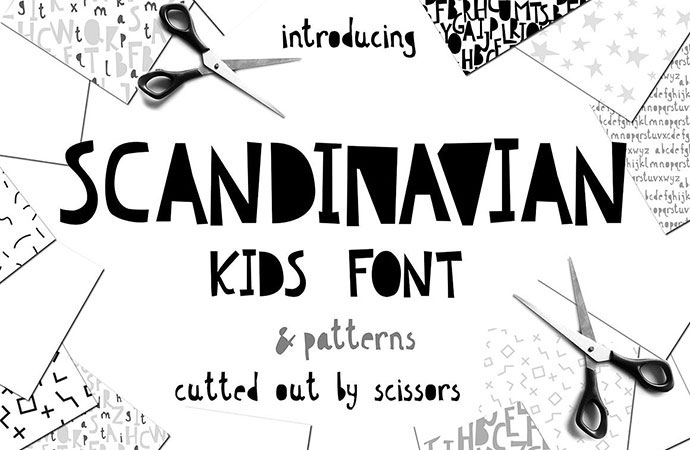 Scandinavian kids font & patterns