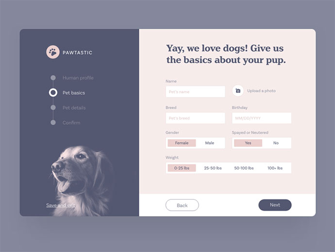 Create your pet profile