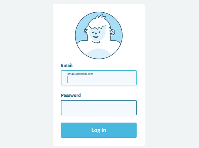 Animated login form avatar