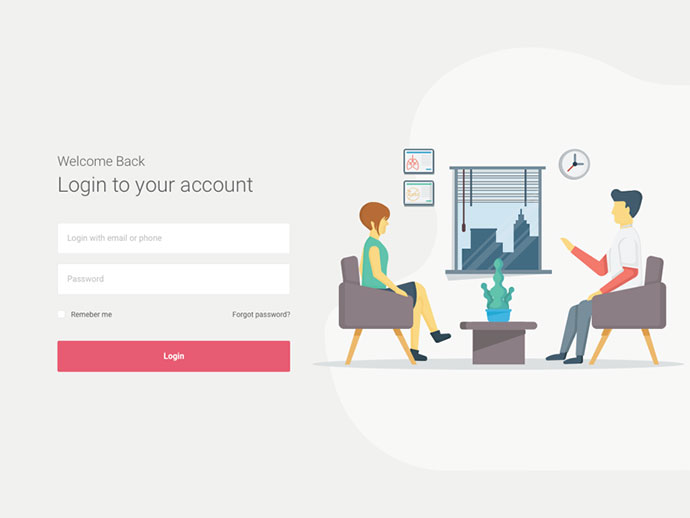 Login Screen for Health Web App