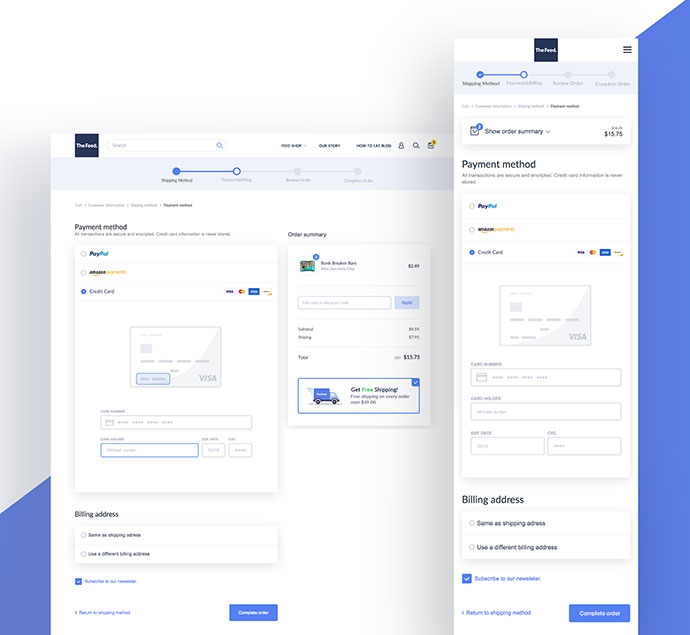 Shopify Checkout responsive payment ui ux