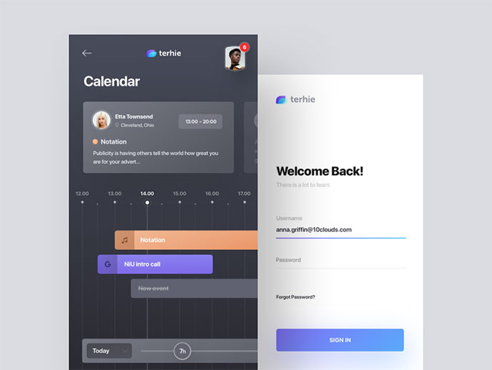 terhie - calendar and login