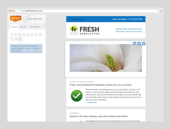 Fresh Newsletter - Hybrid Email Template + Access to Gifky Layout Builder
