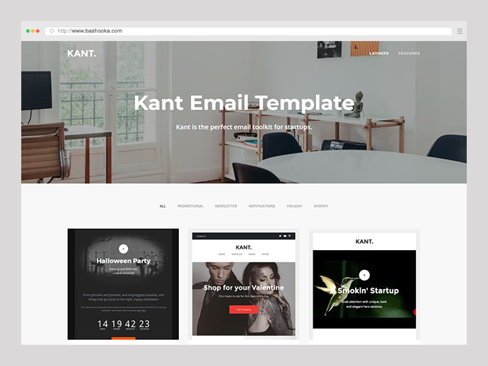 Kant - Responsive Email for Startups: 50+ Sections + Online Builder + MailChimp + Mailster + Shopify