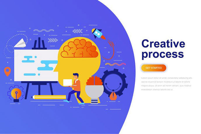 Creative Process Modern Flat Concept