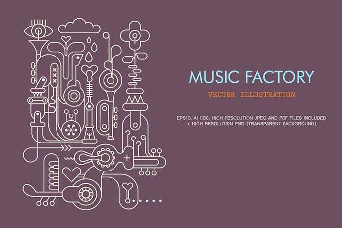 Music Factory line art vector illustration