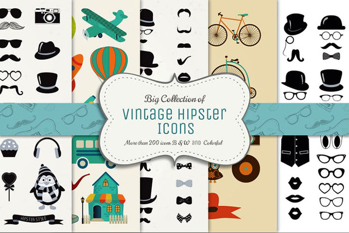 Big Collection of Vector Vintage Icons