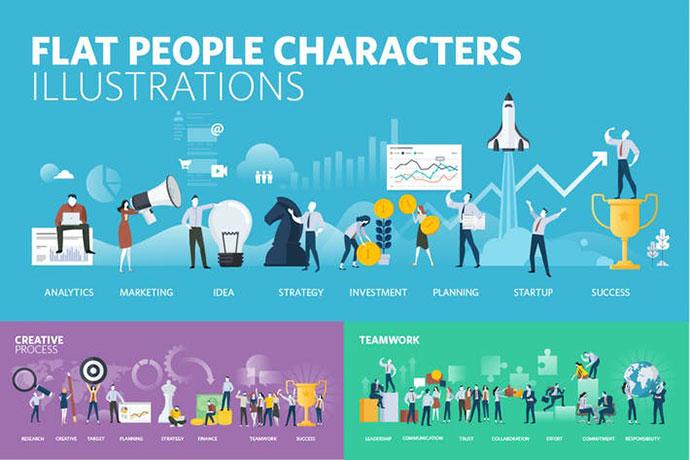 Flat Design People Illustrations