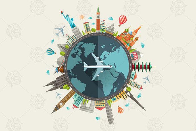 Travel Around The World - Flat Design Illustration