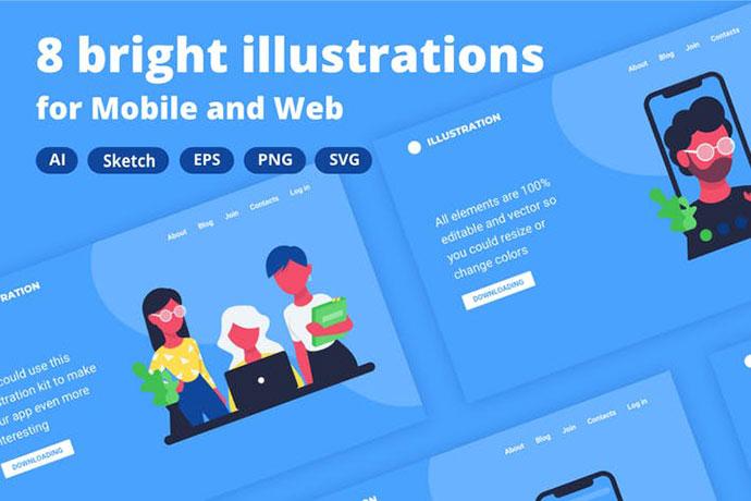 8 Office Illustrations