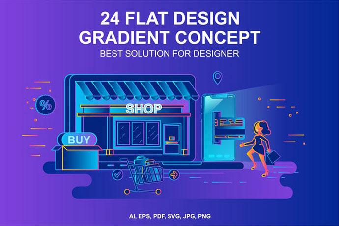 Gradient Flat Design Concepts