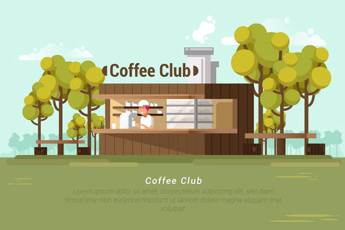 Coffee Club - Vector Landscape & Builidng