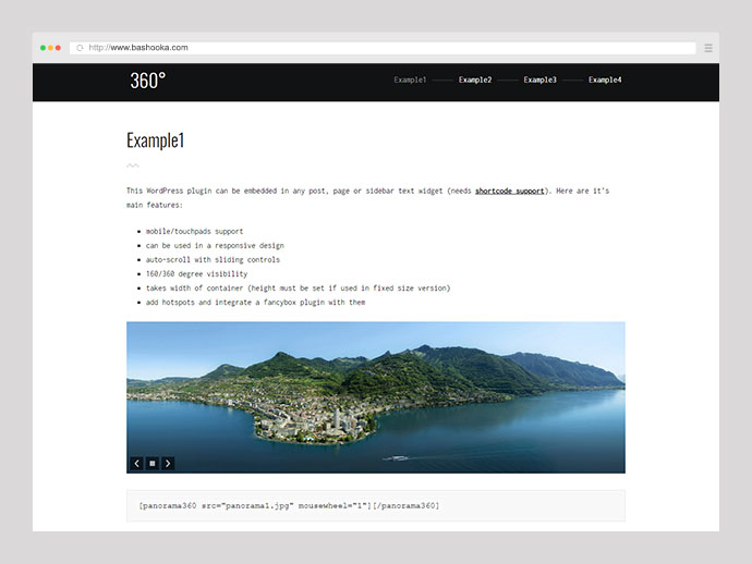 Flat 360° Panoramic Image Viewer - Responsive WordPress Plugin