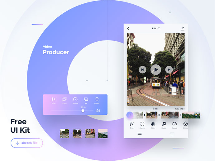 Freebie — Video Producer App — Sketch