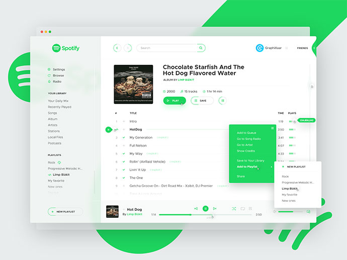 Spotify Concept, White Theme