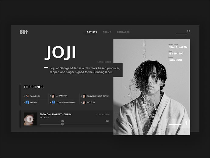 88 Rising artist Joji page