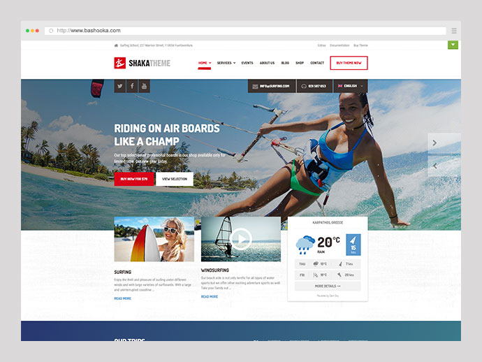 Shaka - A beach business WordPress theme for water sport and activity schools. Surf, kayak and more.